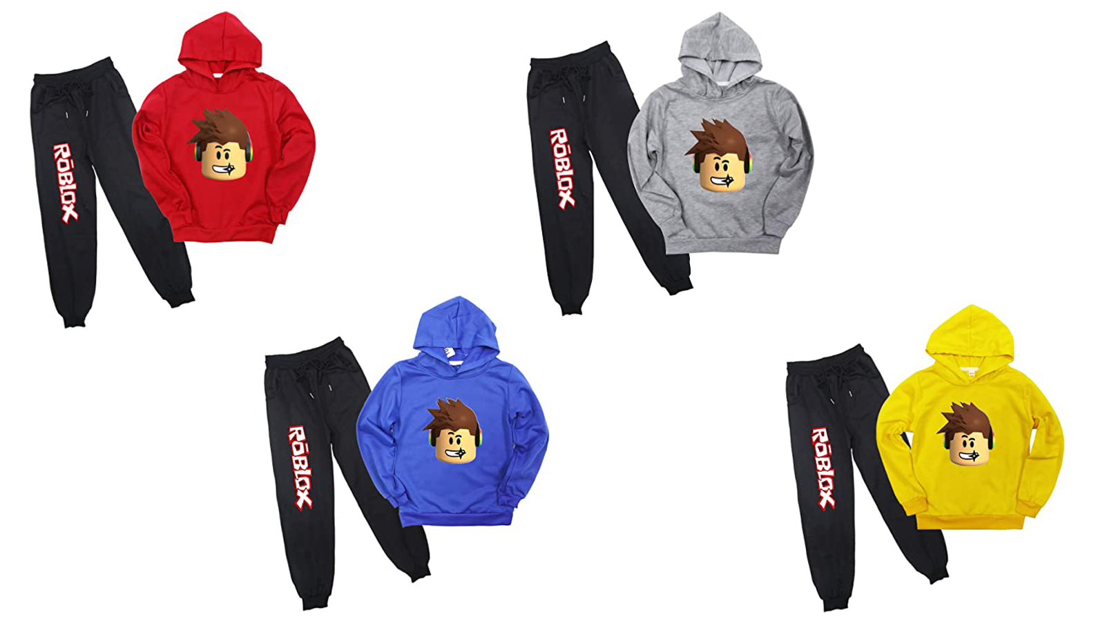 """The """"Roblox"""" Hoodie and Sweatpants Set in red, gray, blue, and yellow."""