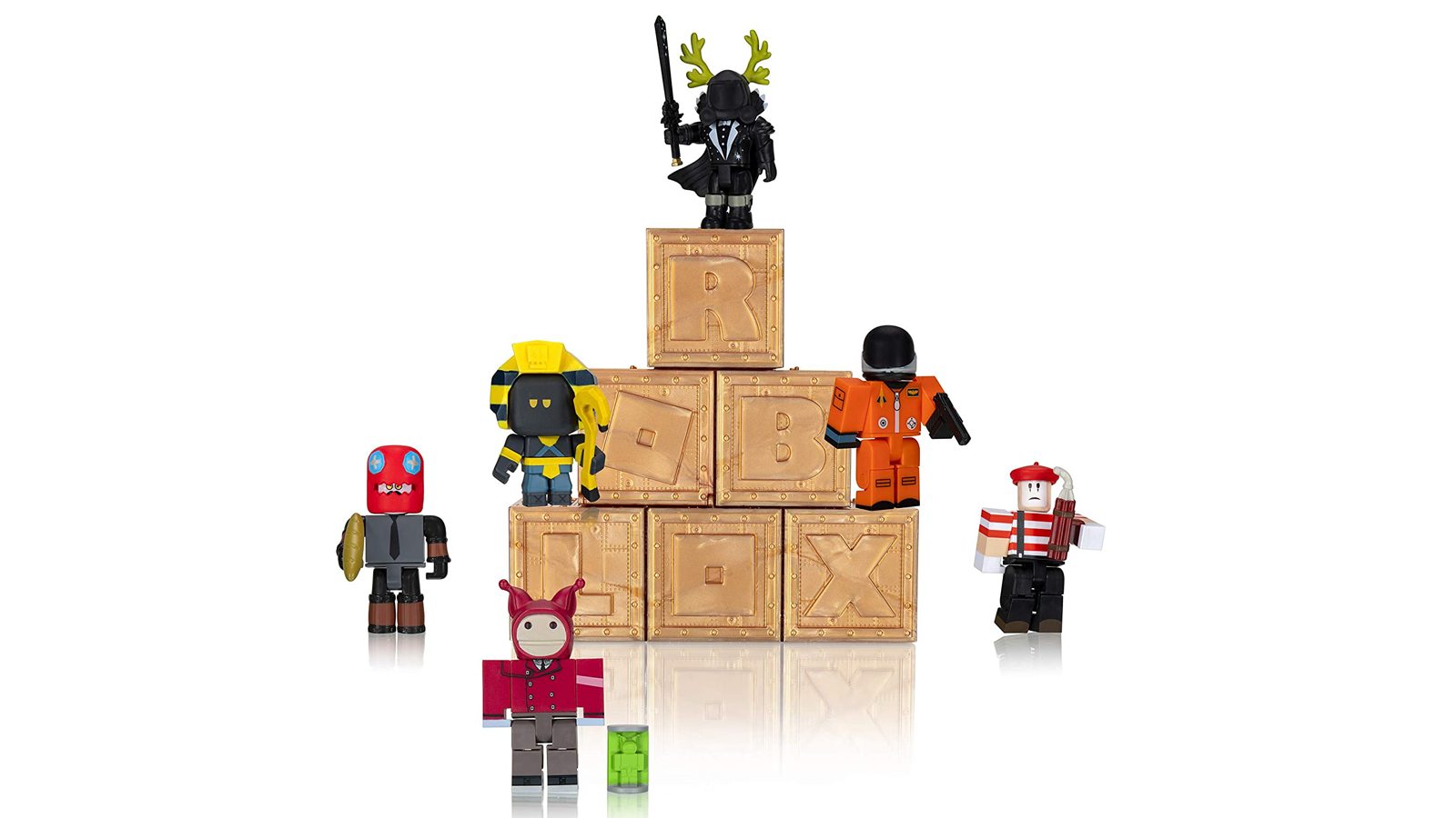 """Six """"Roblox"""" Series 8 action figures from the Mystery Box."""