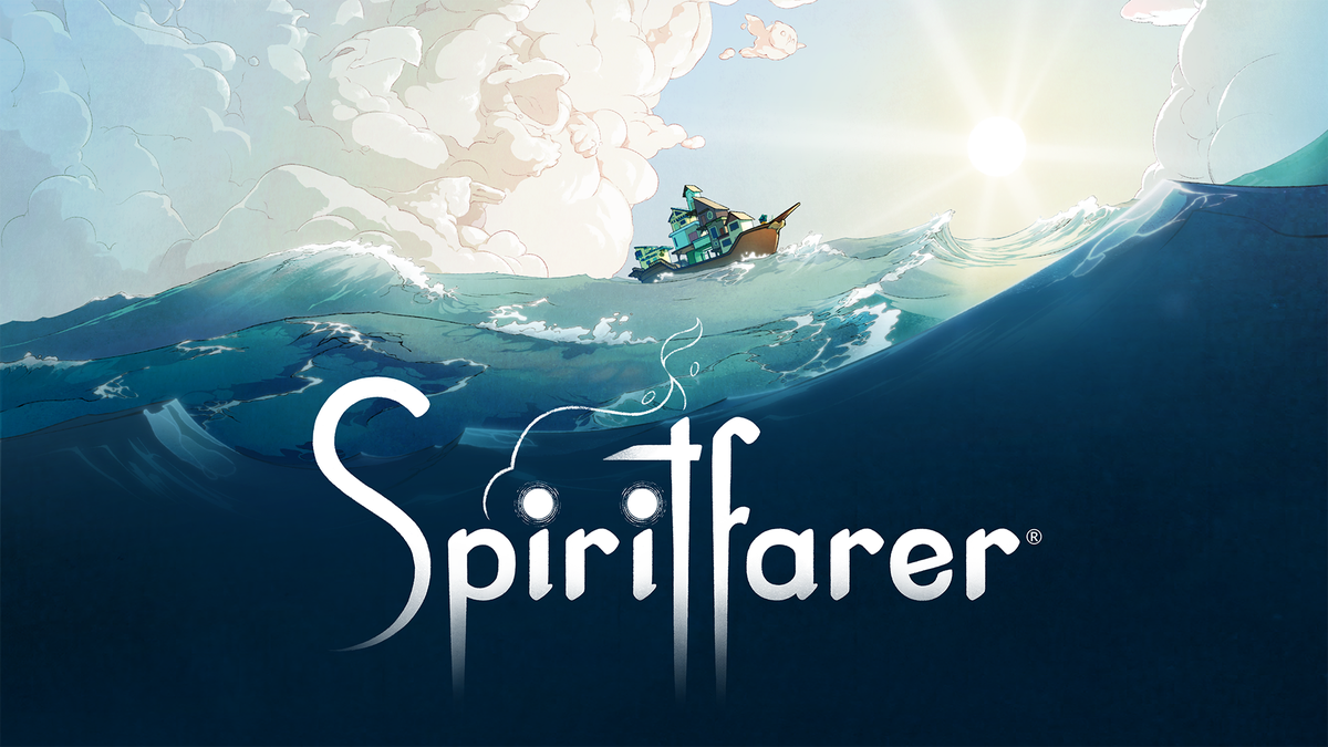 """A boat on the ocean, over the word """"Spirtfarer"""""""