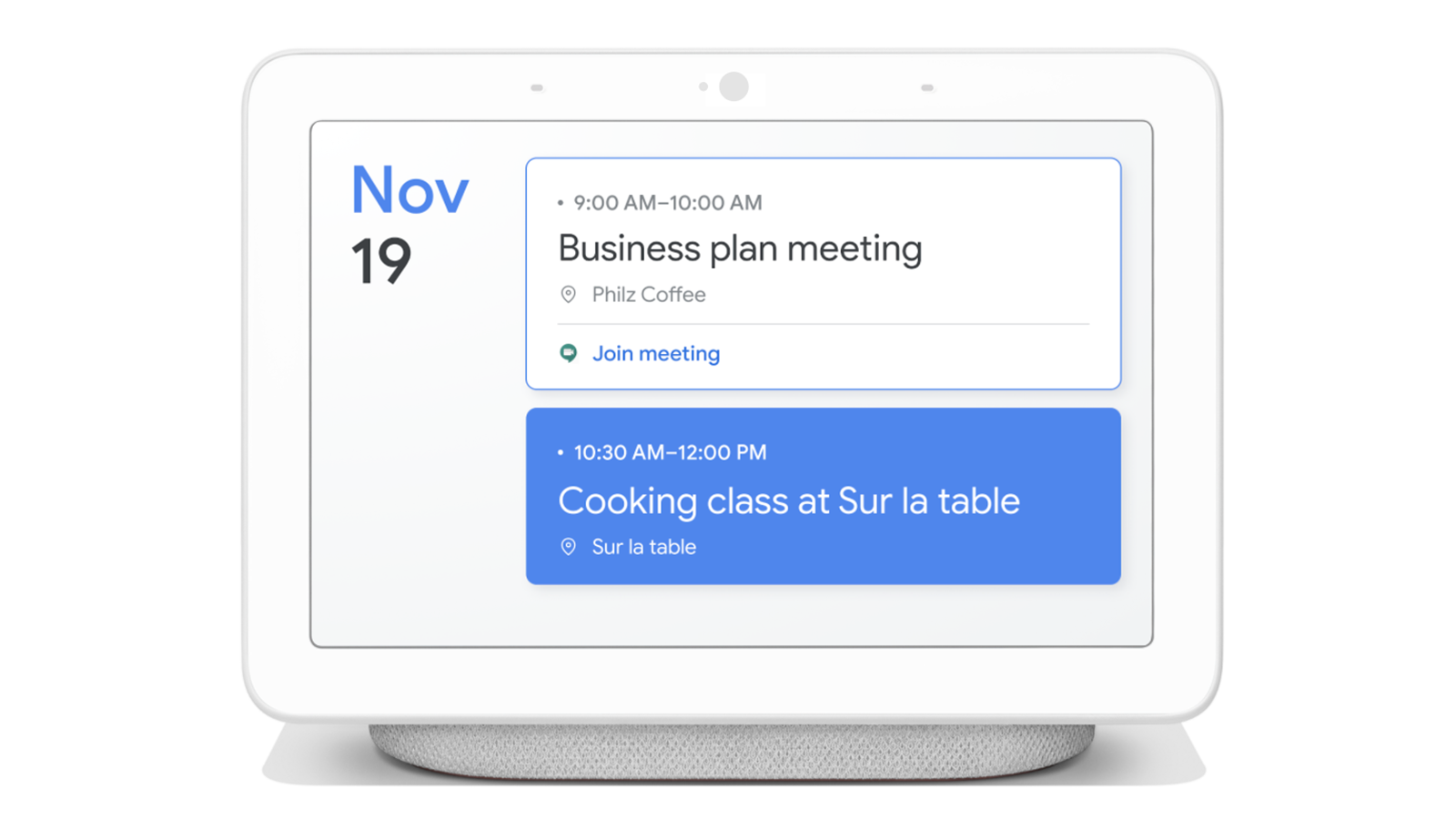 A Google Smart display showing appointments from multiple accounts on one screen.