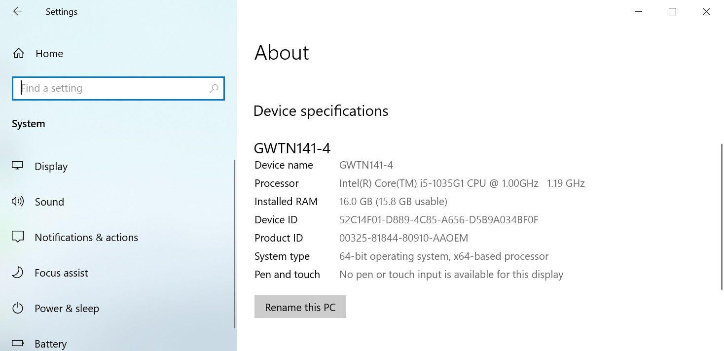 Gateway laptop about screen