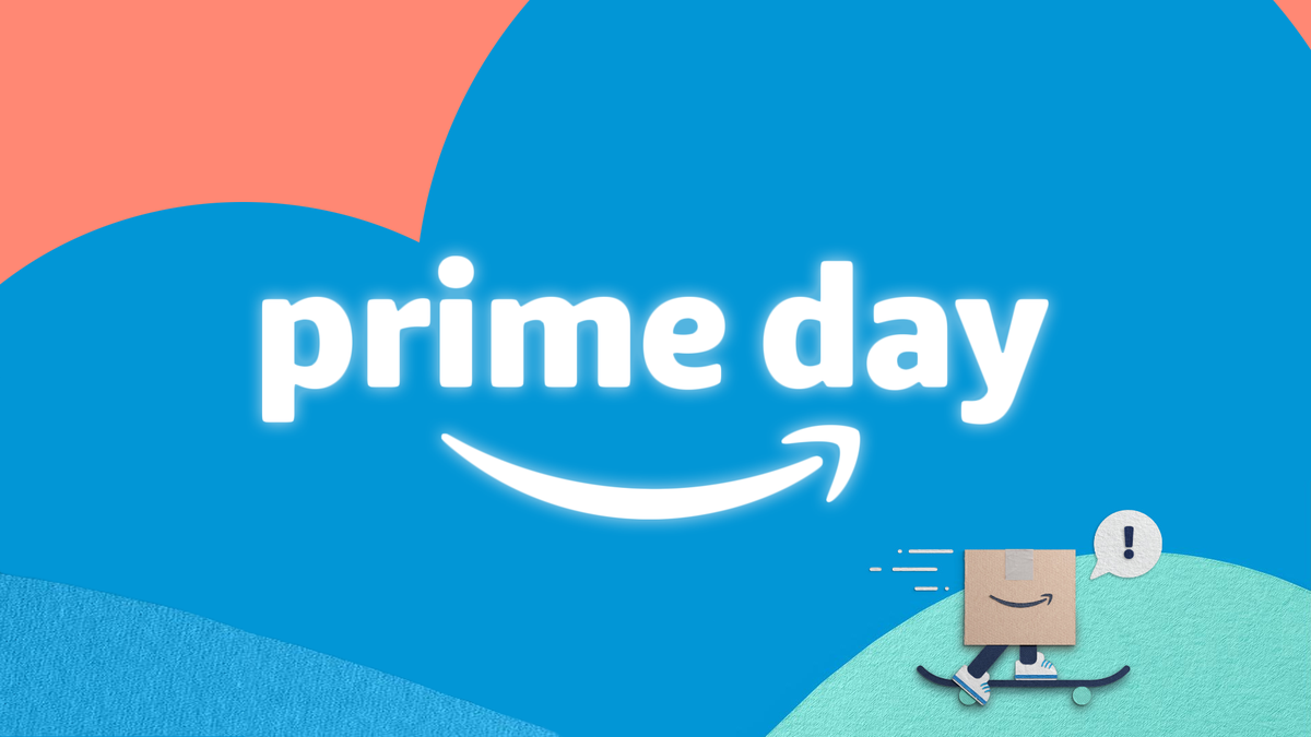 """An illustration of the words """"Prime Day"""" with bright colors and a carboard box riding a skateboard."""