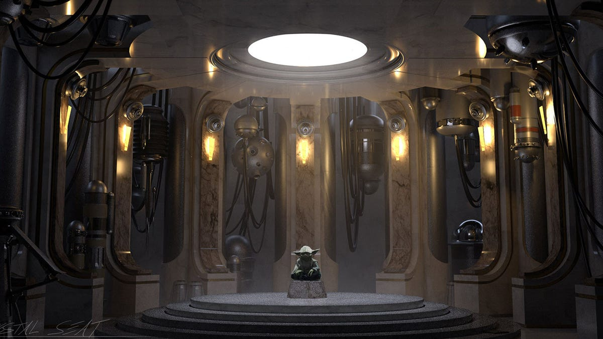 The character Yoda from 'Star Wars' meditating in a droid maintenance facility.