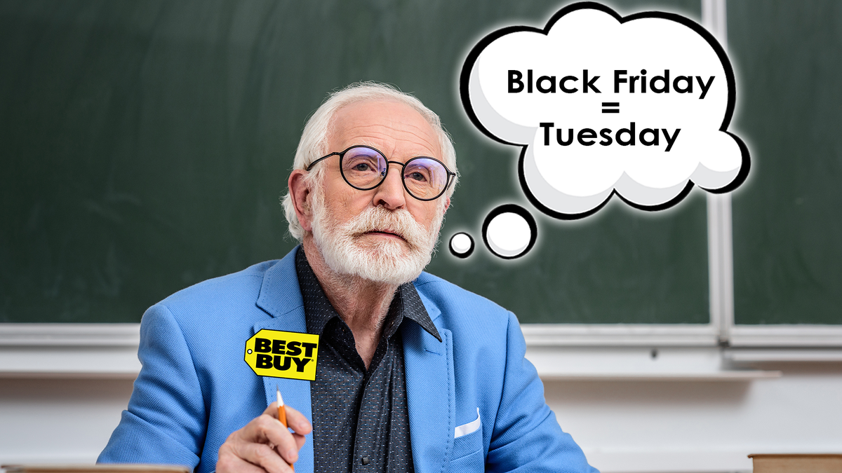 """A scientist in a Best Buy coat imagines """"Black Friday = Tuesday"""""""