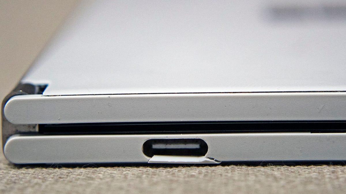A closeup of a broken USB-C port