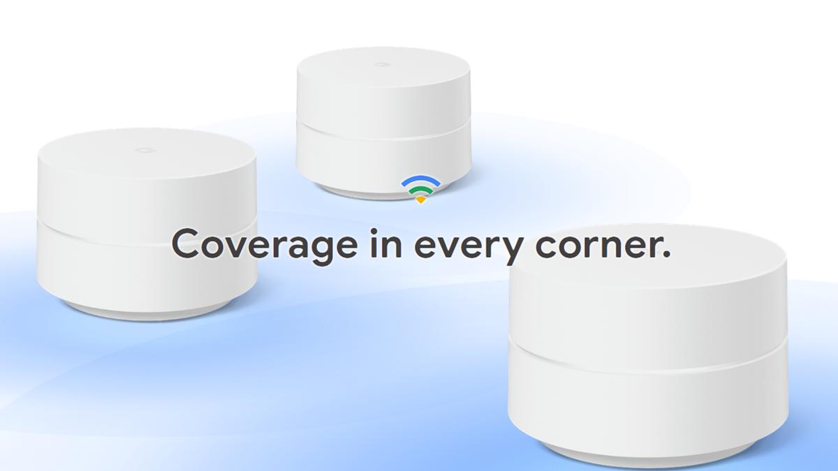 A photo of three Google Wi-Fi modules.