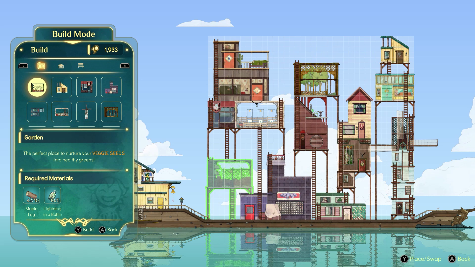 A boat, with buildings all over it, and a menu system for creating more buildings.