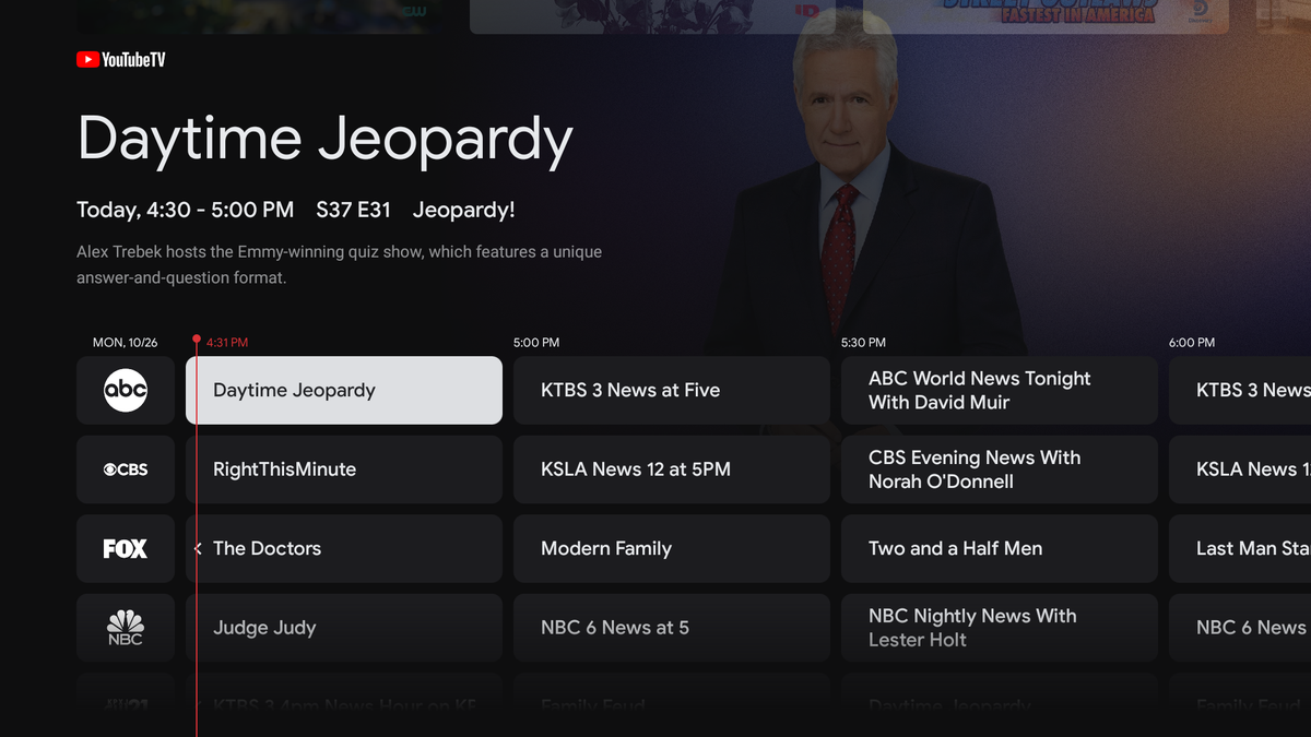 The Live TV view on the new Chromecast with Google TV. It's showing Daytime Jeopardy.