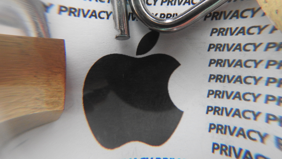 """The Apple logo surrounded by the word """"privacy"""" and some padlocks."""