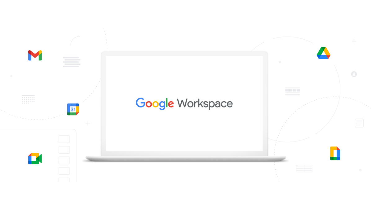 Google Workspace on a desktop, surrounded by icons.