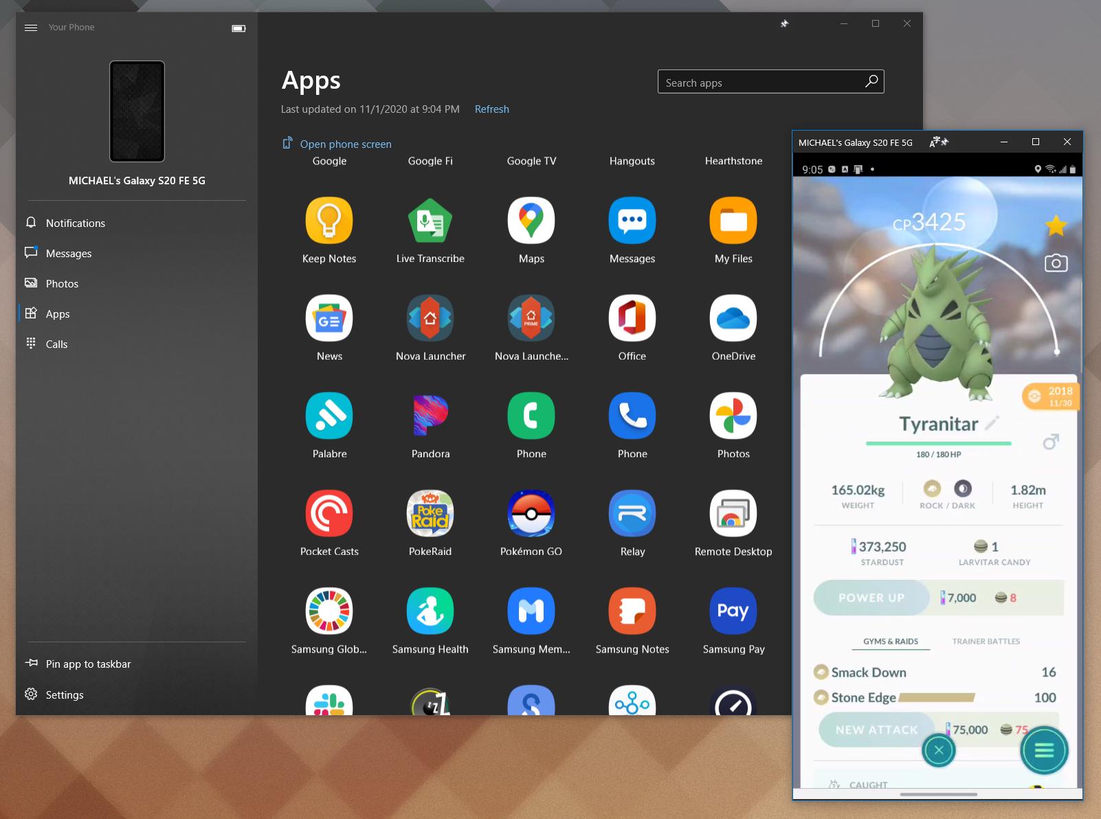 Microsoft Your Phone displaying Galaxy S20 FE screen on Windows