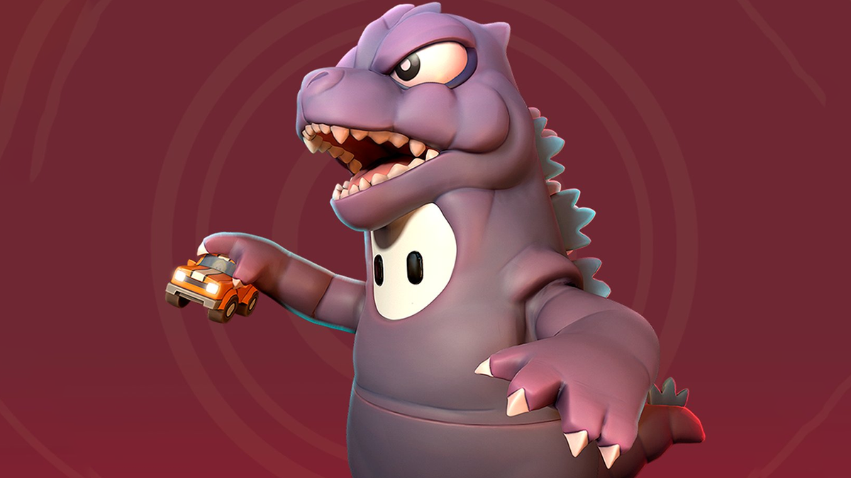 A photo of the 'Fall Guys' Godzilla skin. It's adorable.