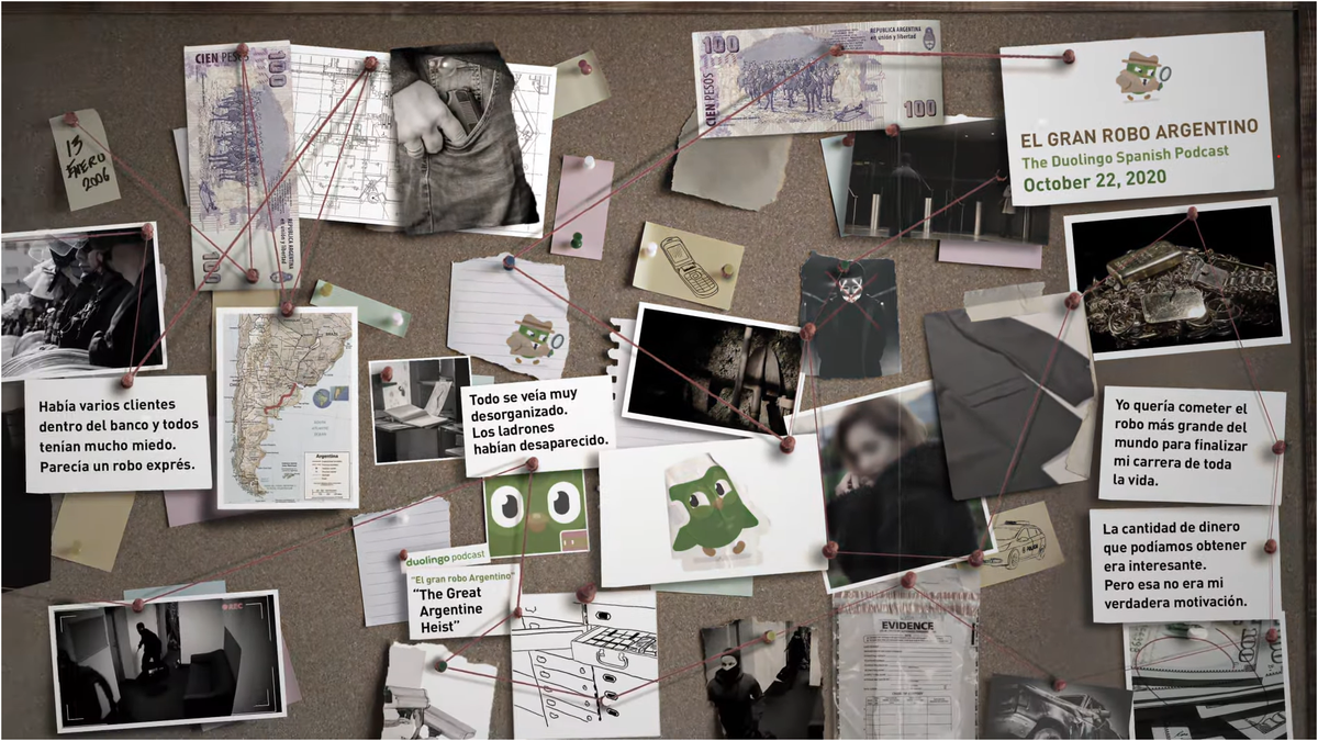 Duolingo's true crime podcast El Gran Robo Argentino preview with bulletin board full of photos and notes