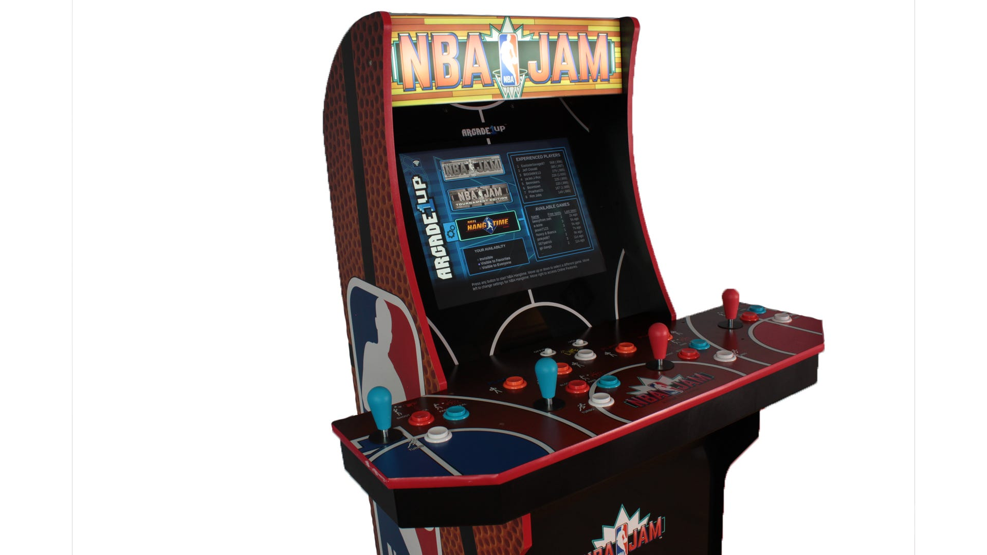 A closeup of the NBA Jam machine's marquee, lit up.