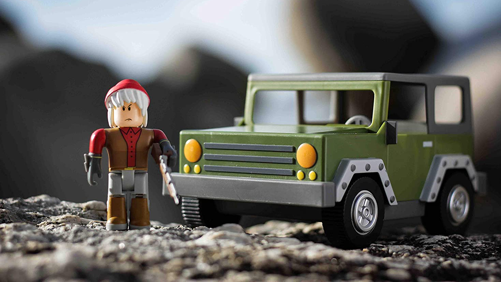 """A """"Roblox"""" Apocalypse Rising 4x4 vehicle and action figure."""