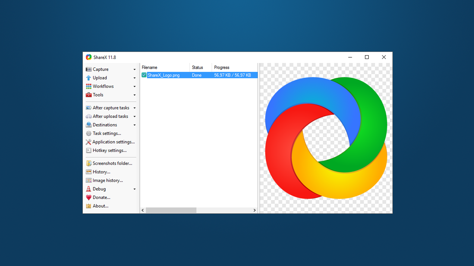 ShareX home screen for starting an image capture
