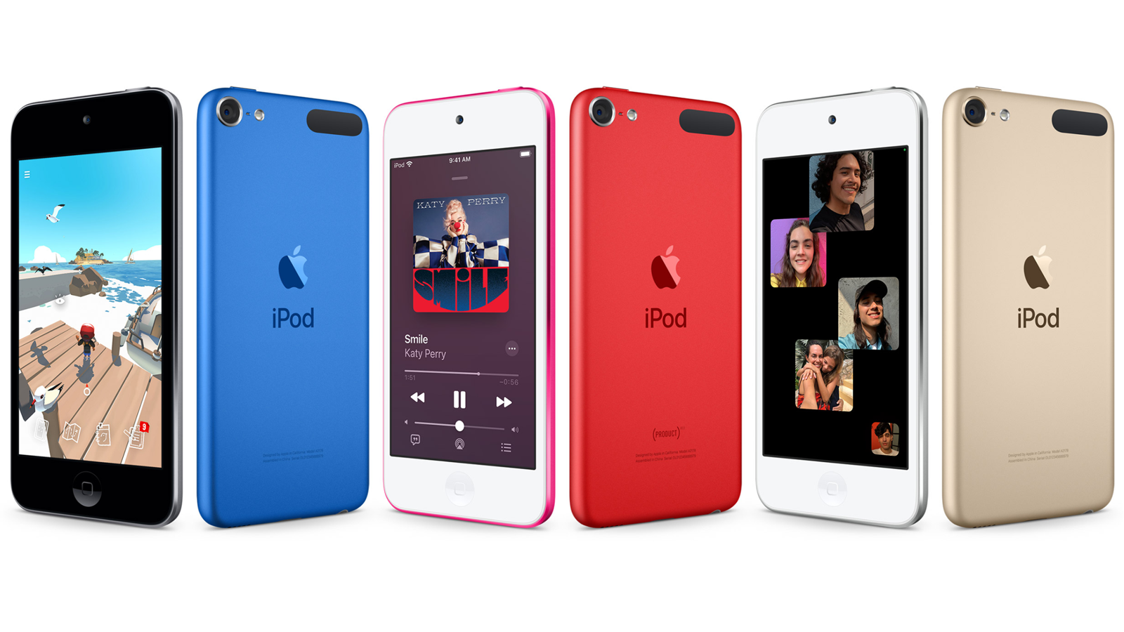 Several iPod Touch devices in three colors displaying the front and rear of the device