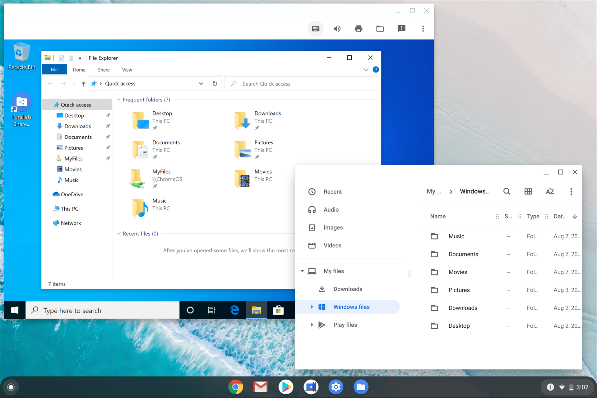 Parallels with shared files between Windows and Chrome OS