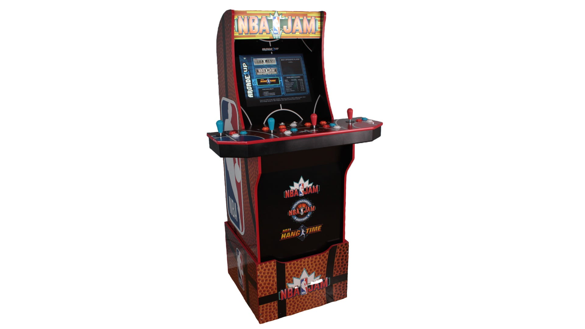 A profile view of the Arcade1Up NBA Jam machine