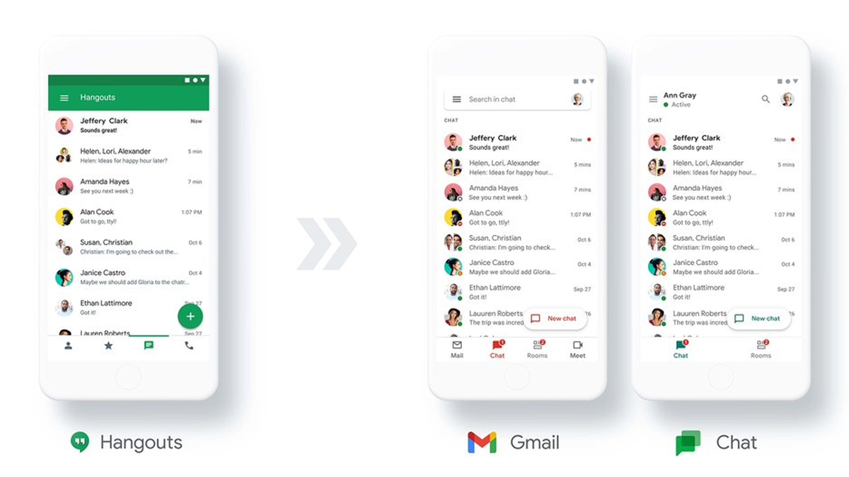 An illustration of Hangouts users moving to Gmail and Google Chat.