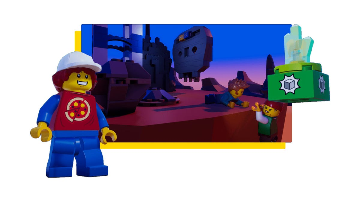 A set of LEGO minifigs playing a video game.