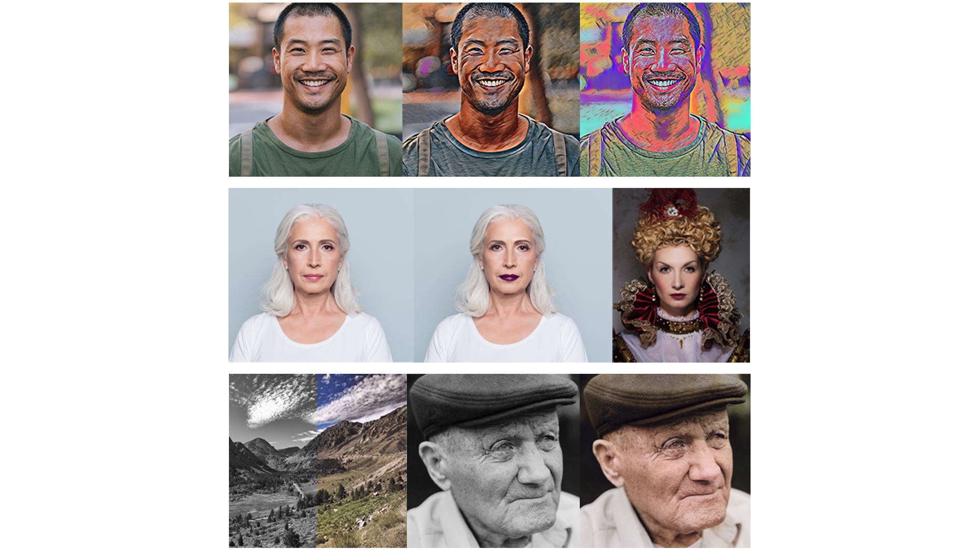 Three of Photoshop's AI-powered Neural Filters.