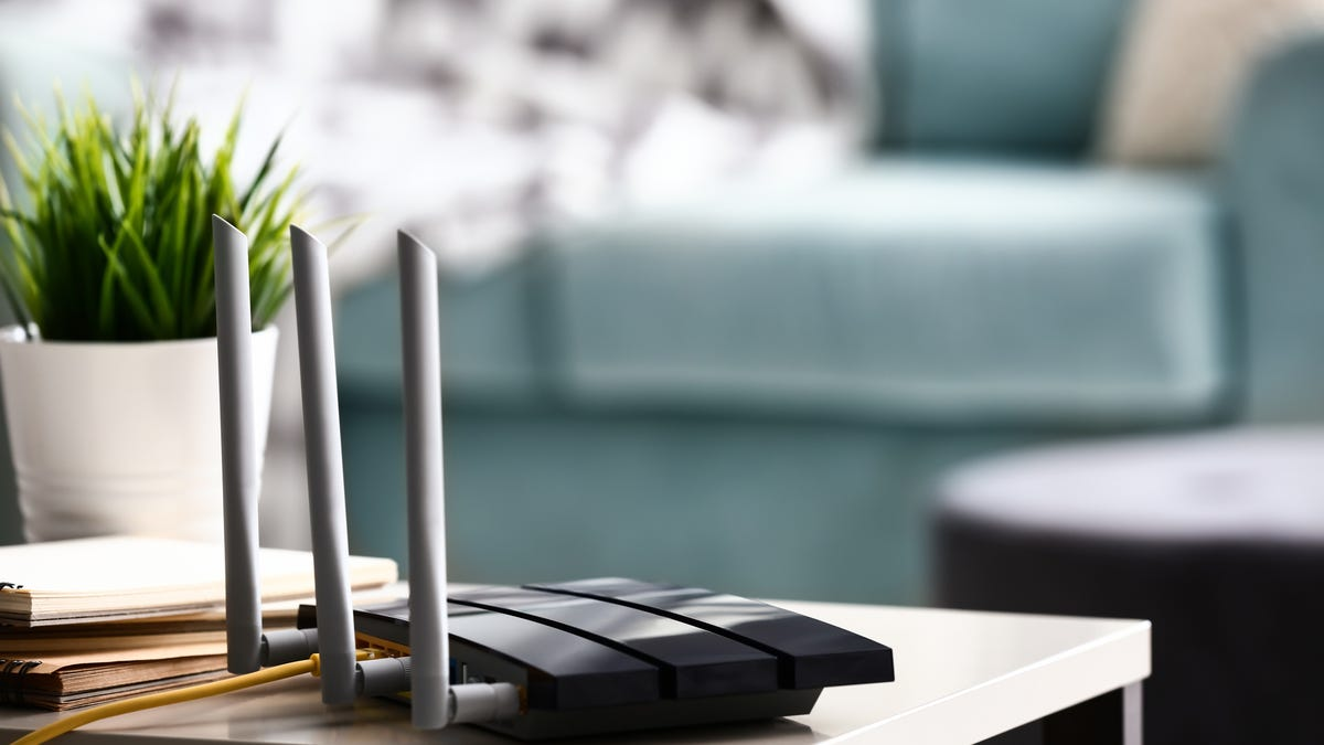 A Wi-FI router in a living room.