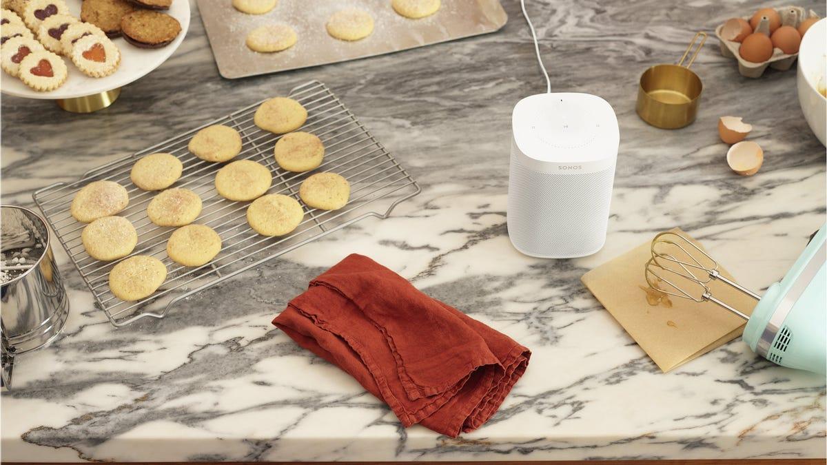 A Sonos speaker in a kitchen setting.