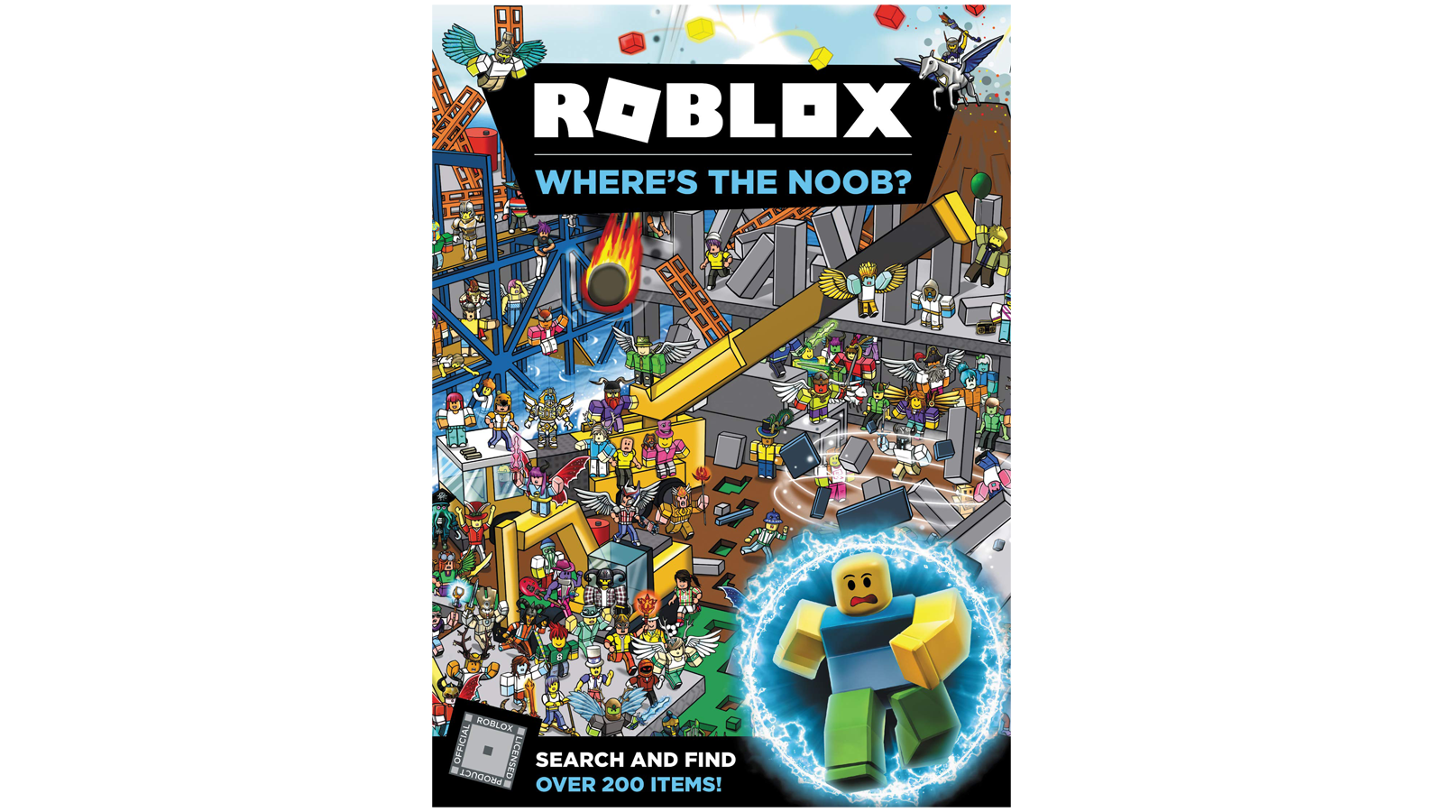 """""""Roblox: Where's the Noob?"""" search-and-find book."""