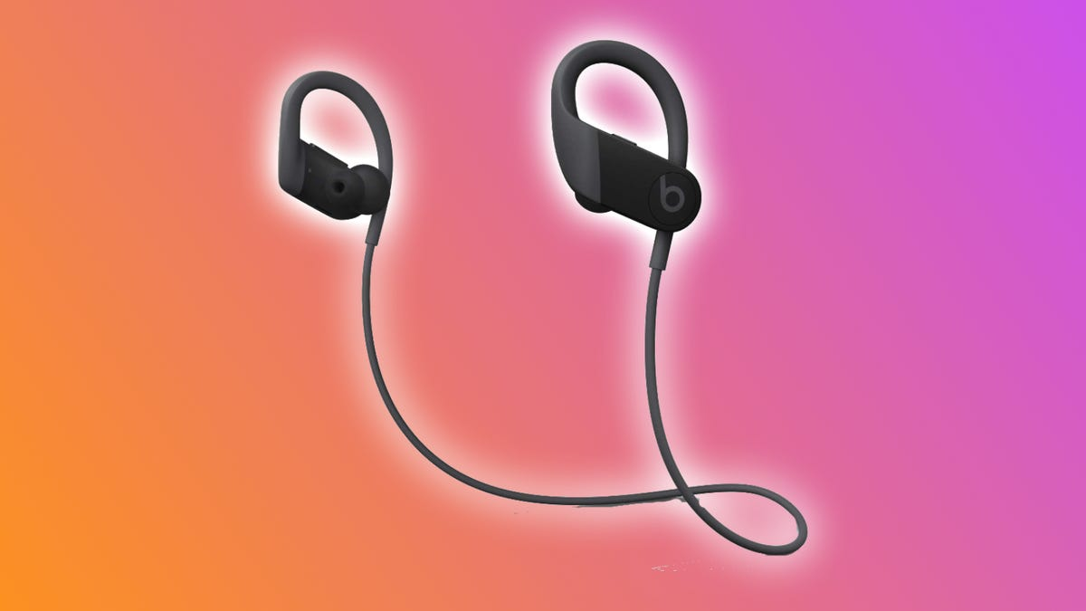 Beats PowerBeats on a multicolored backdrop