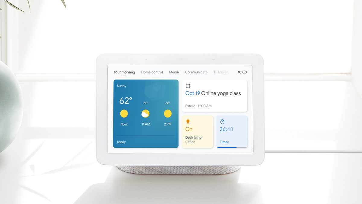 """A Google Nest hub with a """"your morning"""" page displayed."""