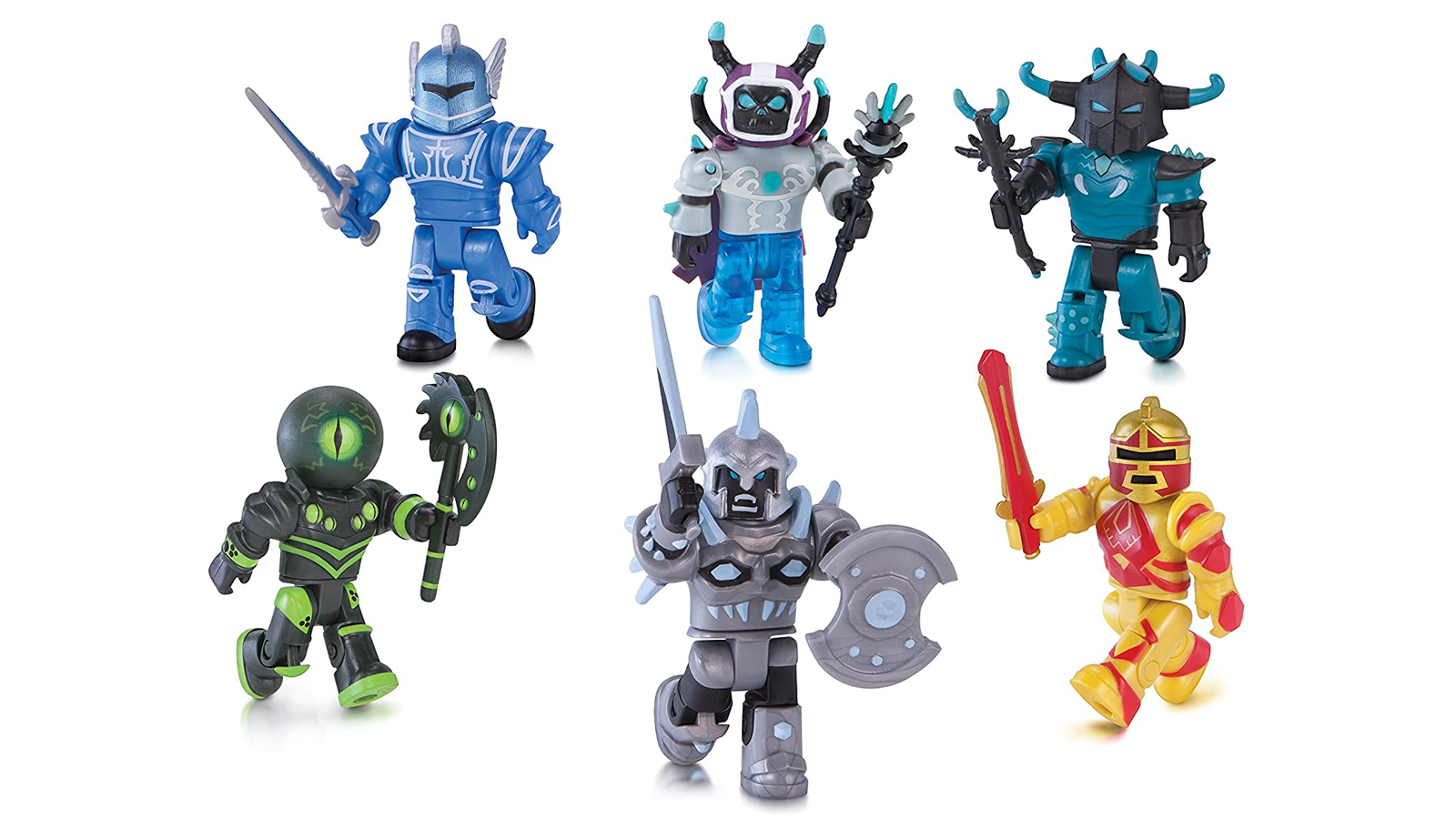 """The six """"Roblox"""" action figures in the Champions of Roblox Pack."""