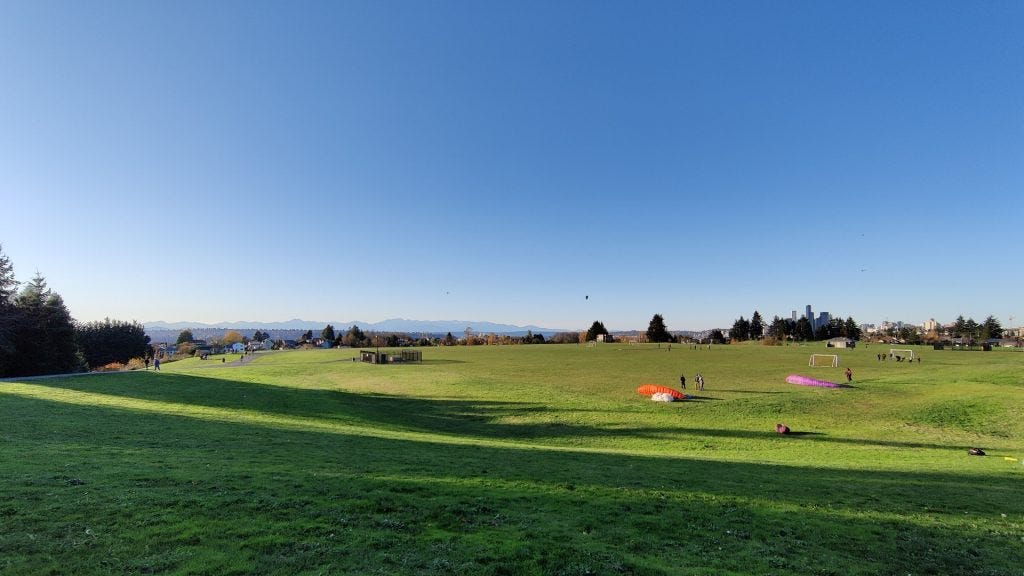 Ultra-wide shot of a park