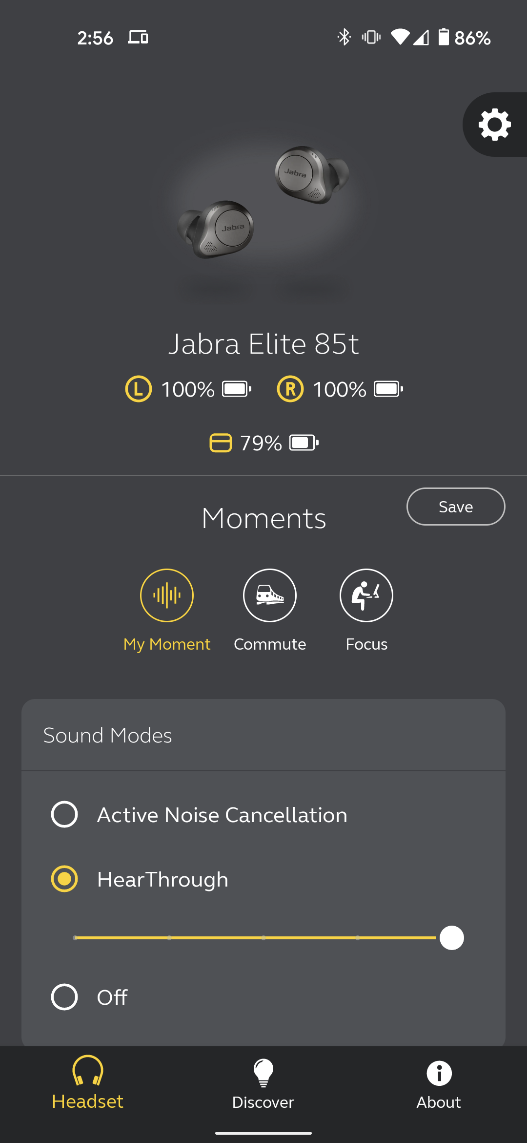 The Jabra Sound+ app showing the earbuds and HearThrough option enabled
