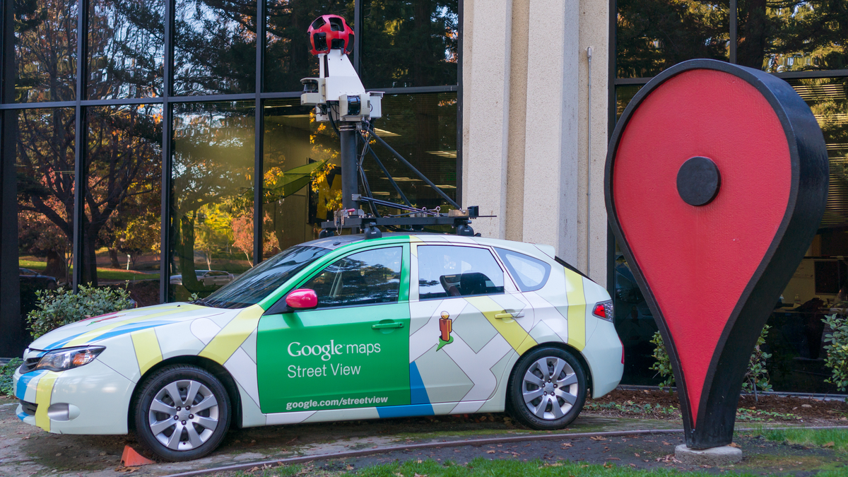 Google Maps Street View car in front of Google's Mountain View California office.