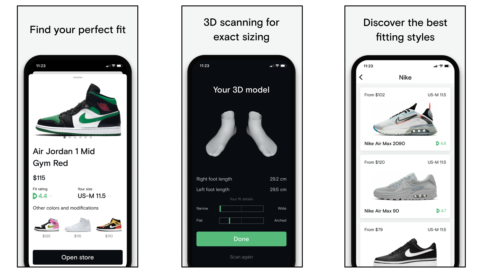 Neatsy app with foot scanner and sneaker recommendations