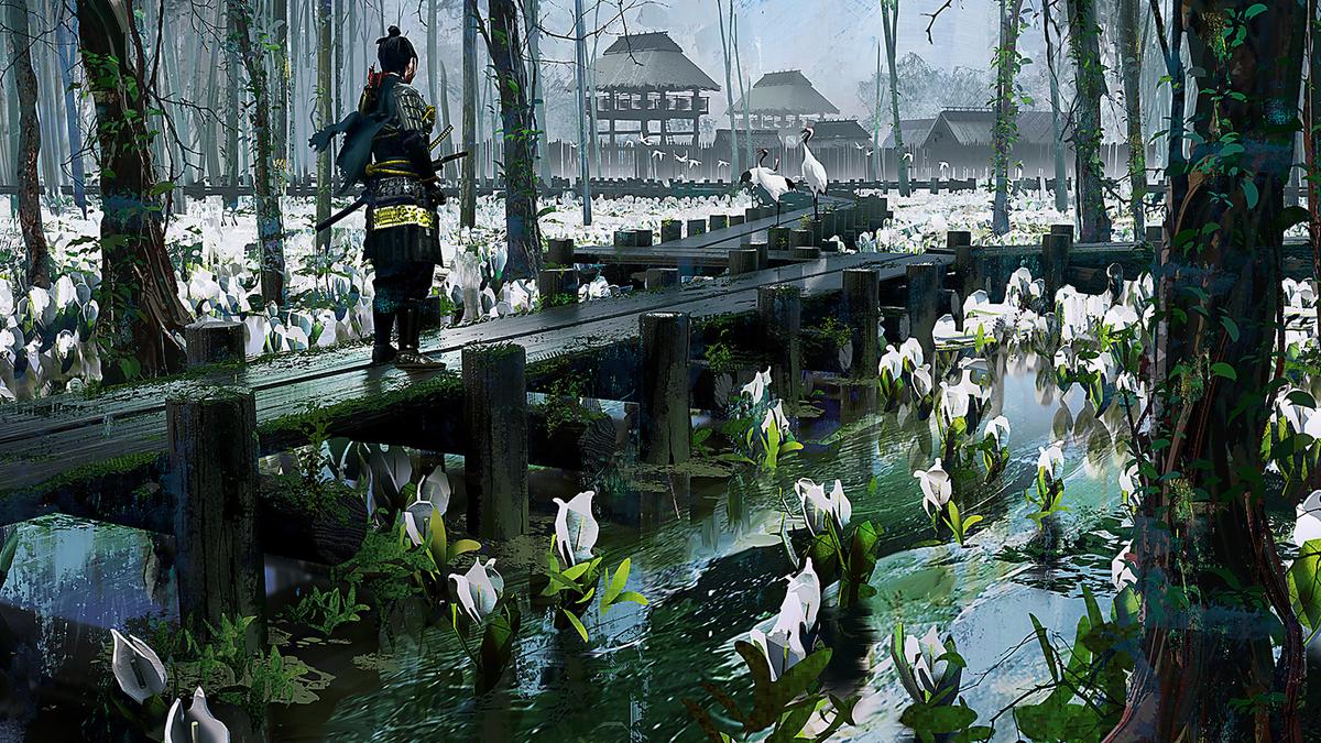 'Ghost of Tsushima' art print featuring samurai walking on low bridge over water