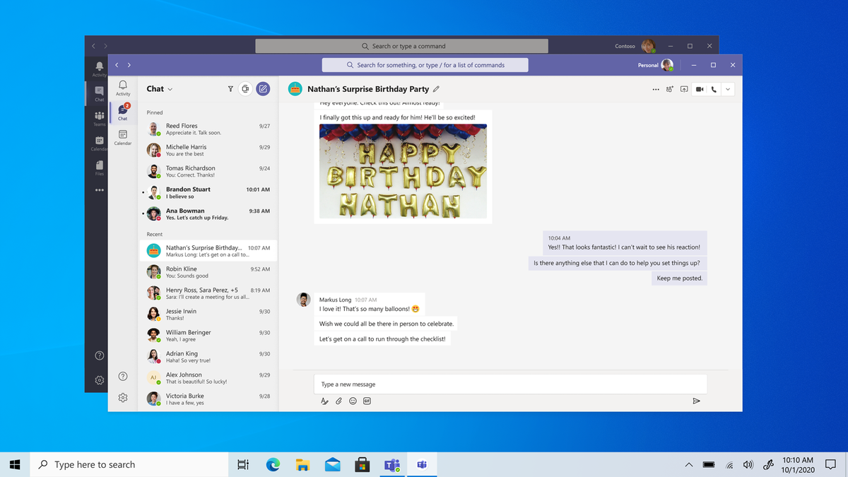 Microsoft Teams open on a desktop with a happy birthday message.