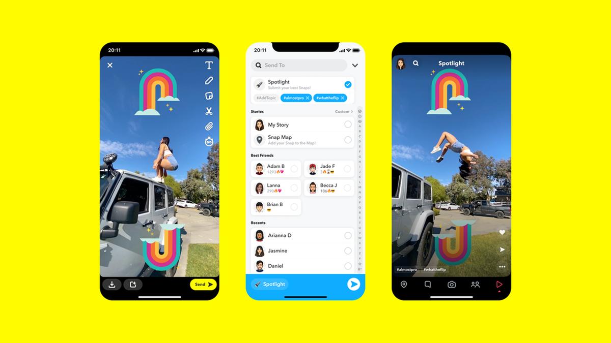 Three iphones showing Snapchat's new Spotlight service.