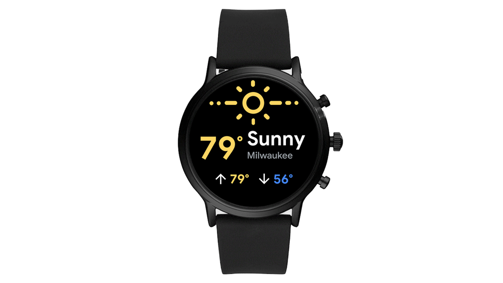 Weather updates on Wear OS by Google smartwatch