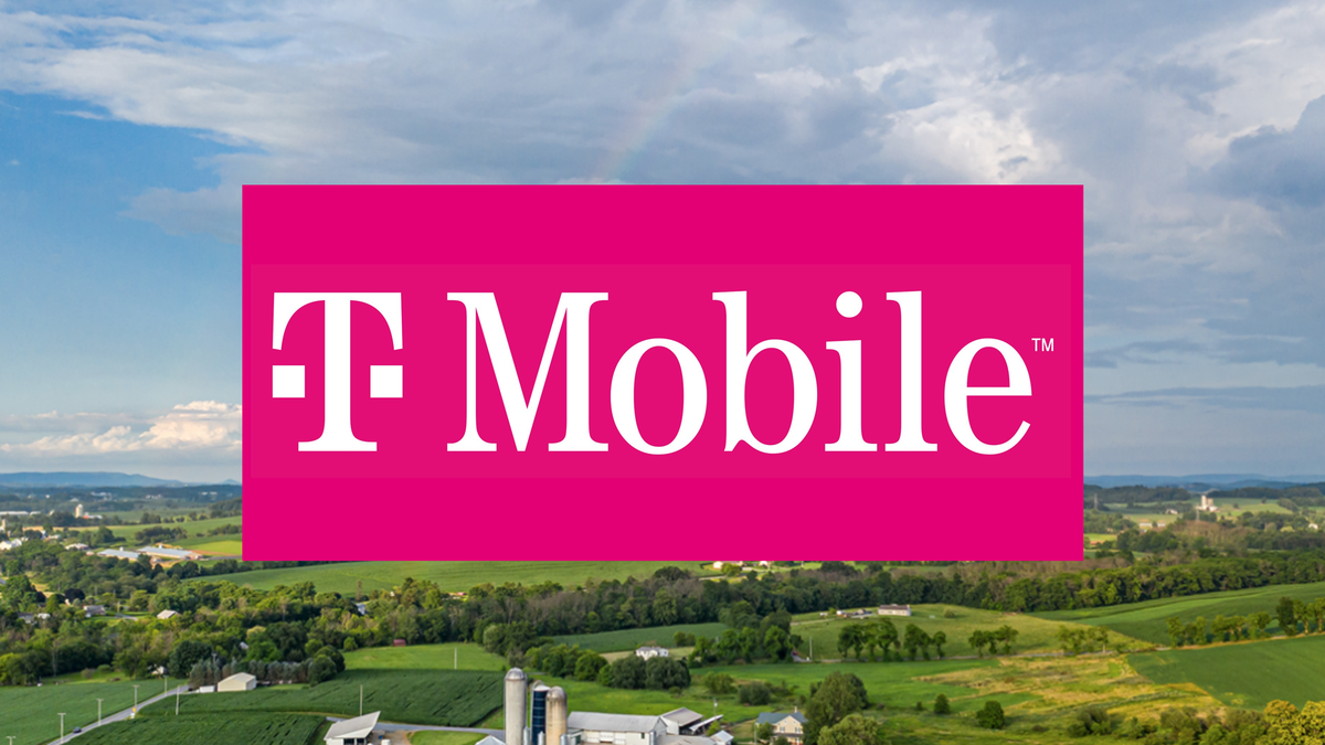 The T-Mobile logo over a rural town.