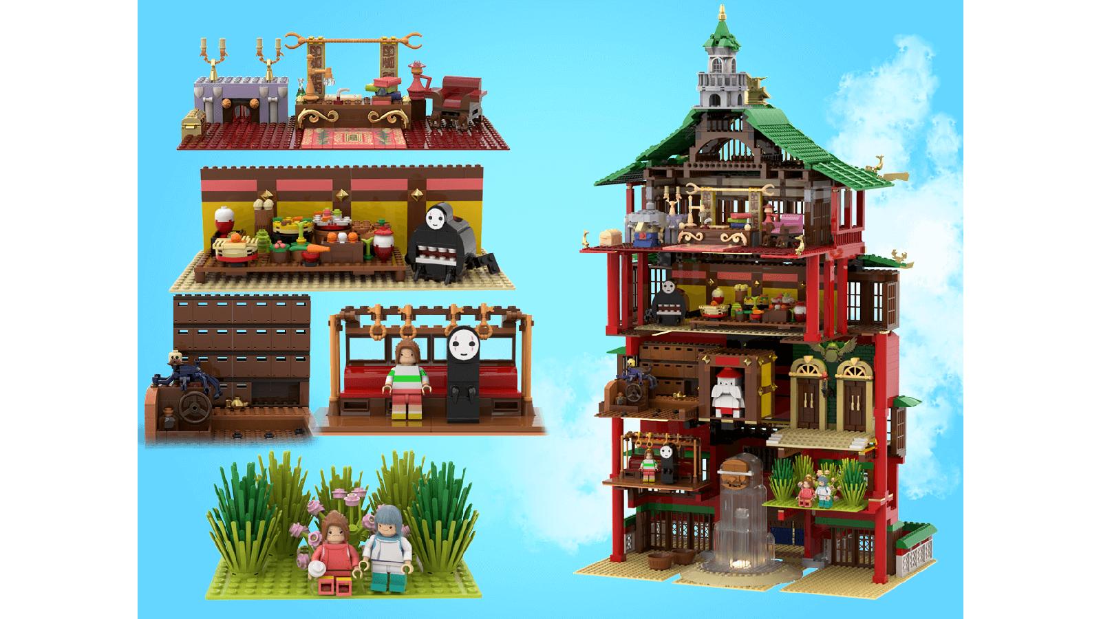 """Inside of Studio Ghibli """"Spirited Away"""" LEGO Ideas set"""