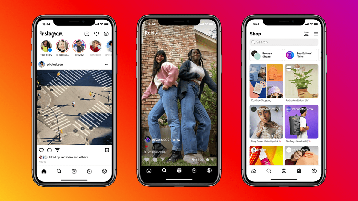 Instagram's new update featuring dedicated tabs for Shop and Reels