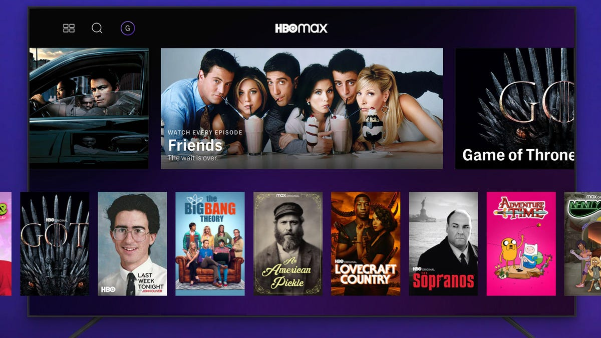 HBO Max promotional image: TV with scrolling shows