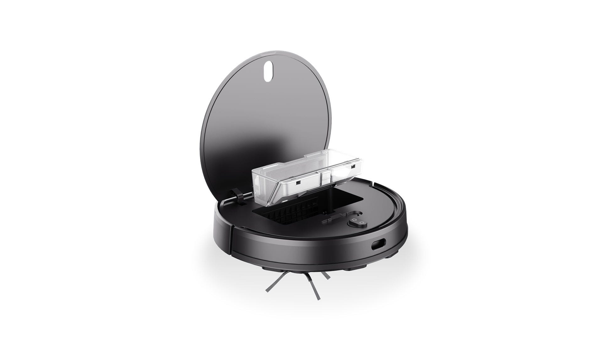A Wyze robot vacuum with the top opened and dust bin showing.