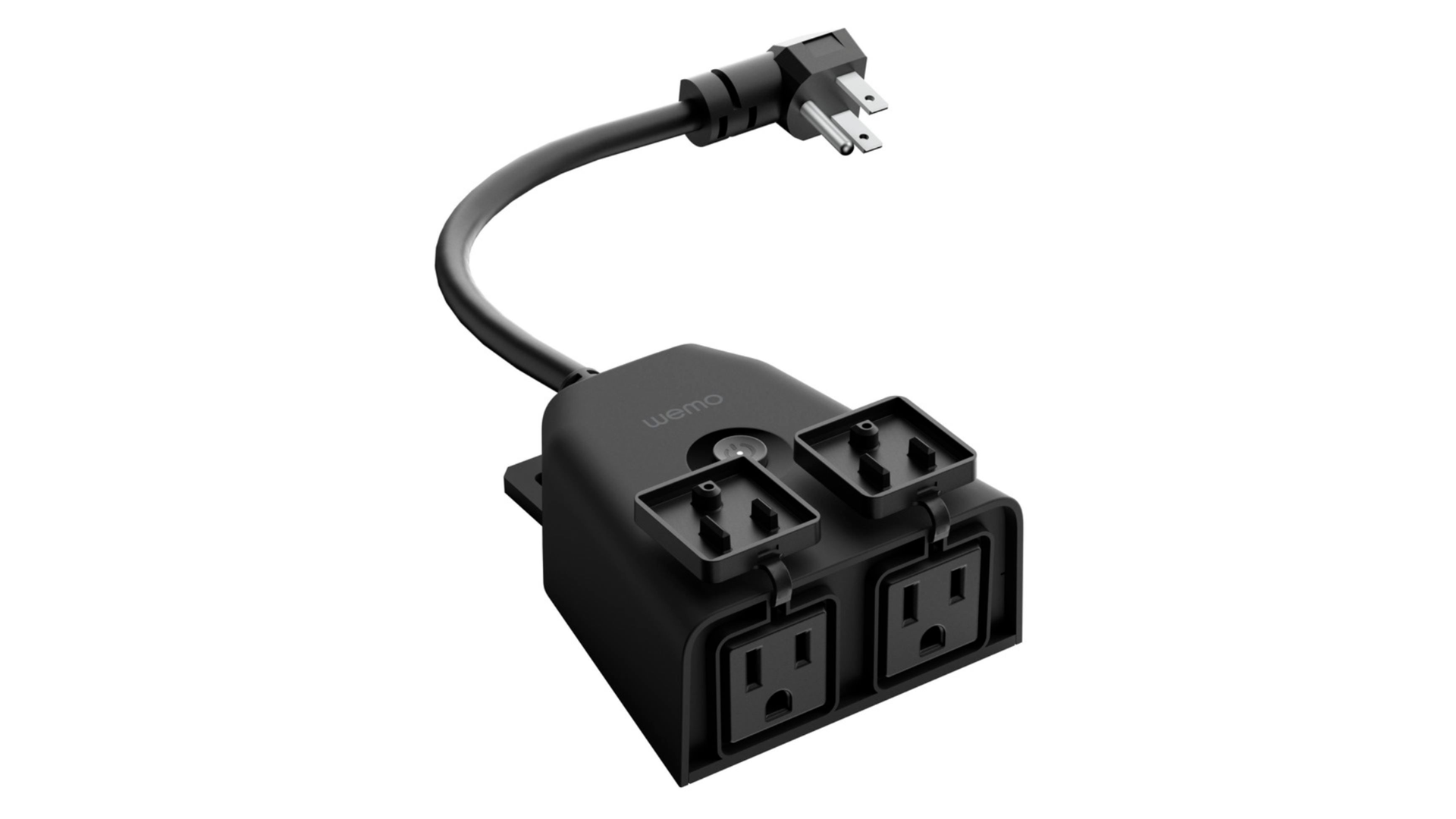 A picture of the Wemo outdoor smart plug with Homekit compatibility.