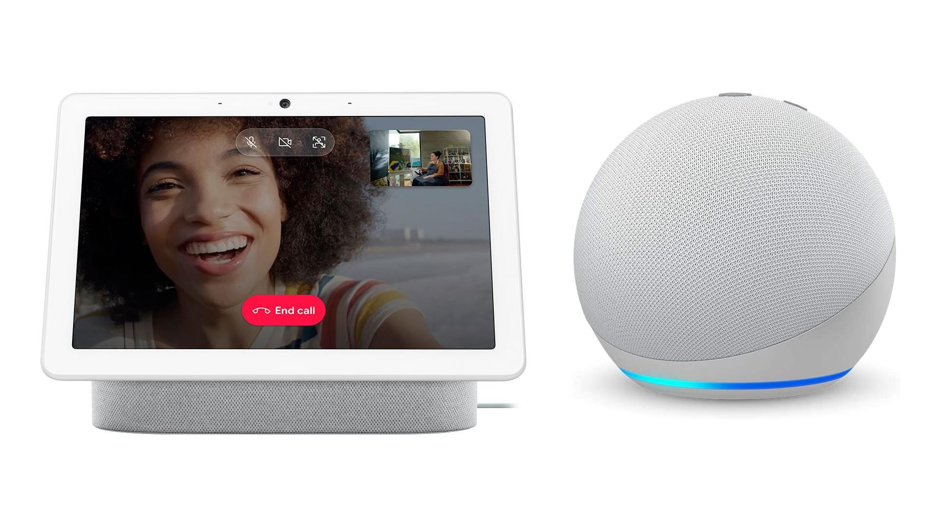 The Google Nest Hub Max and the Echo Dot smart speaker.