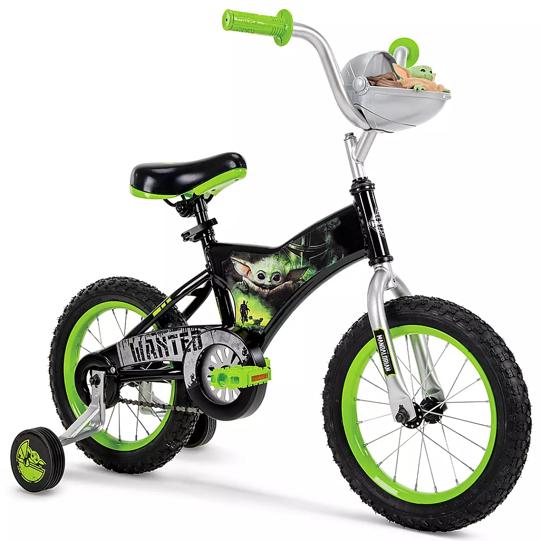 The Baby Yoda bike, which features a black and green paint scheme and Yoda's little pod thing on the front. It's cute.