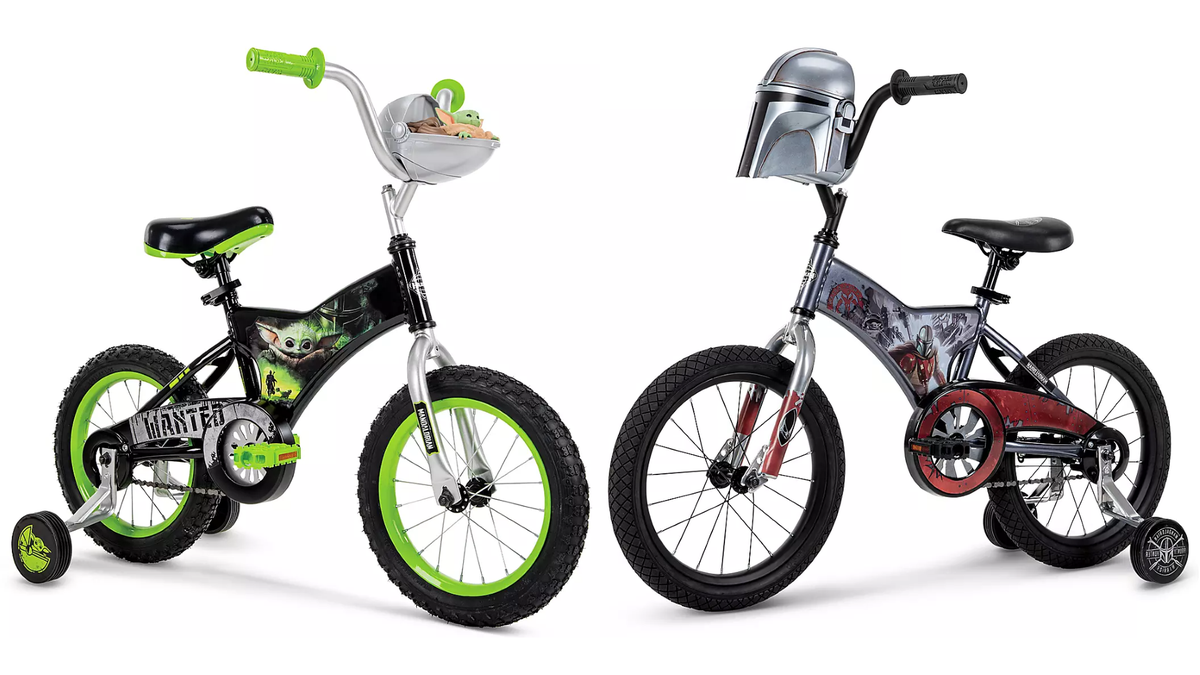The Baby Yoda and Mandalorian bikes facing each other on a white background