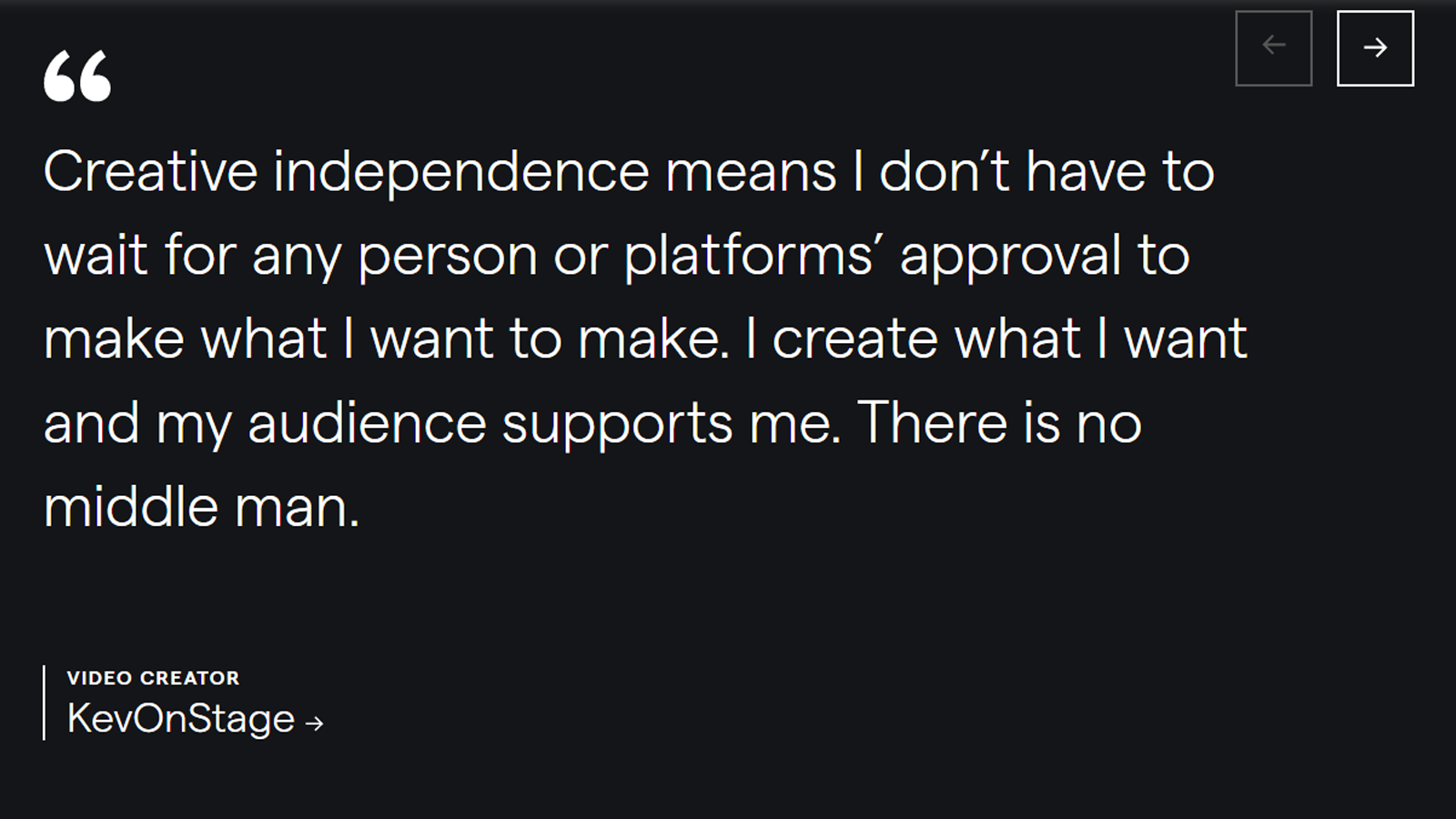 Quote from a Patreon creator